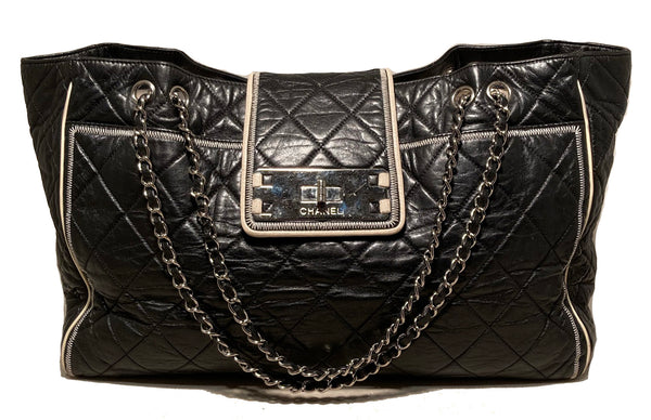 Chanel Black Mademoiselle Lock Front East West Tote