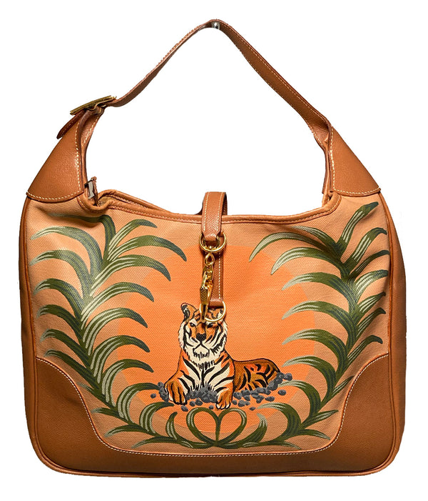 Vintage Hermes Trim Bag with Hand Painted Tiger