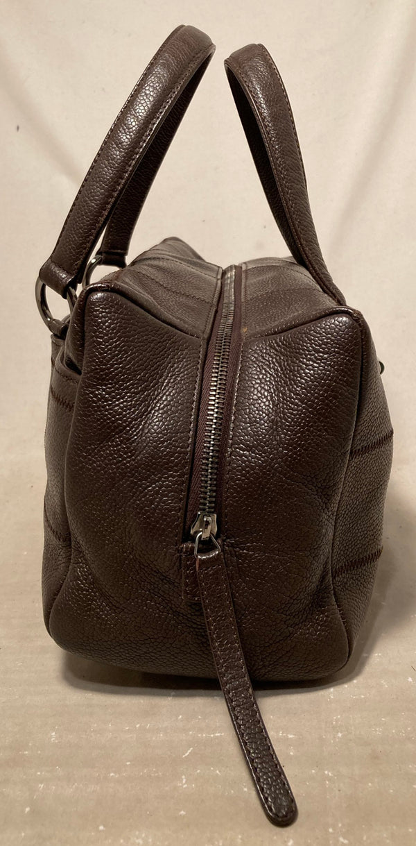 Chanel Brown Square Stitch Bowler Bag
