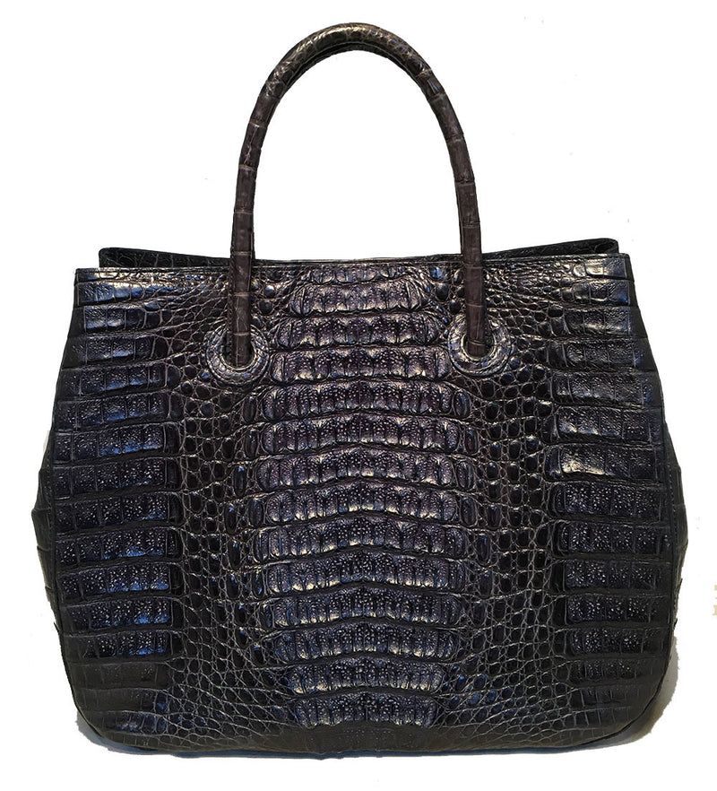 Byron Navy Blue Hornback Crocodile Leather Tote