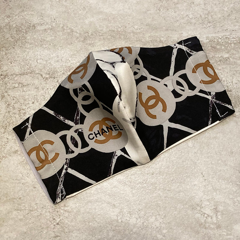 Chanel Black and Grey Silk Scarf Face Mask