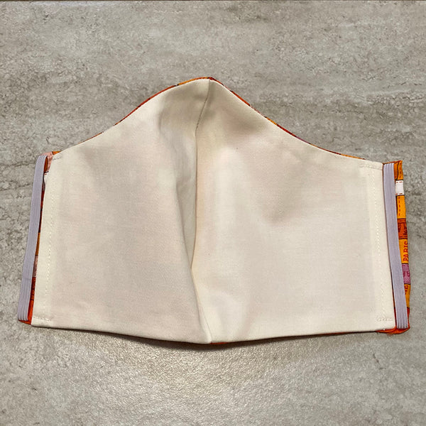 Hermes Orange Bolduc Au Carre Silk Scarf Face Mask