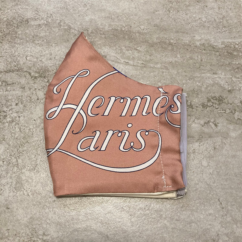 Hermes Tan Grand Manege Silk Scarf Face Mask