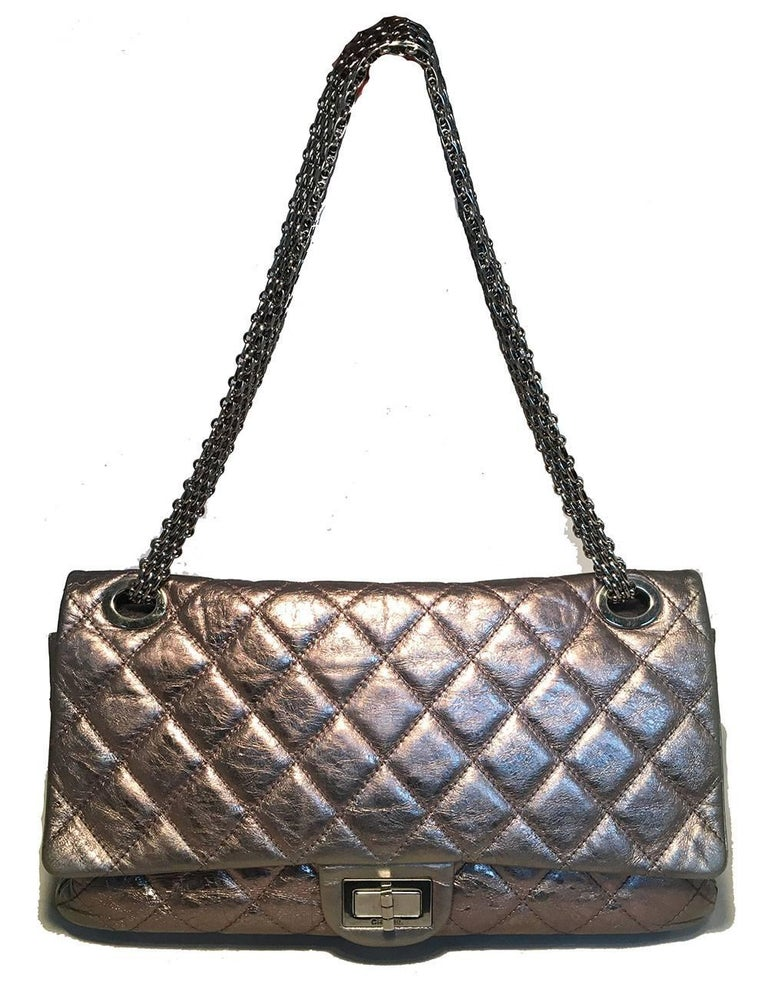 RARE Chanel Silver Aged Calfskin 228 Reissue Double Flap Classic Shoulder Bag