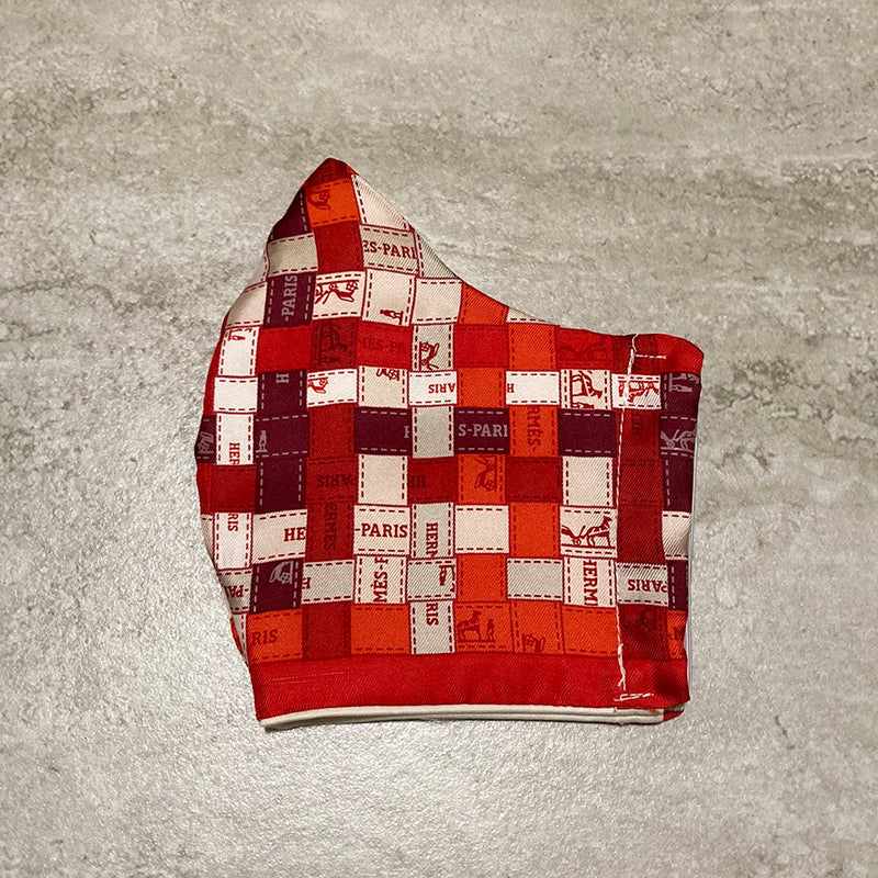 Hermes Bolduc Au Carre Silk Scarf Face Mask in Dark Red
