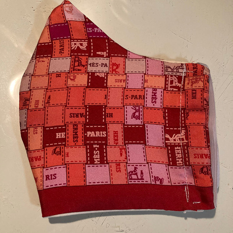 Hermes Cherry Red Bolduc Au Carre Silk Scarf face mask