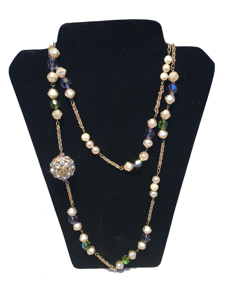 Chanel Vintage Pearl and Green and Purple Beaded Necklace with Crystal Ball