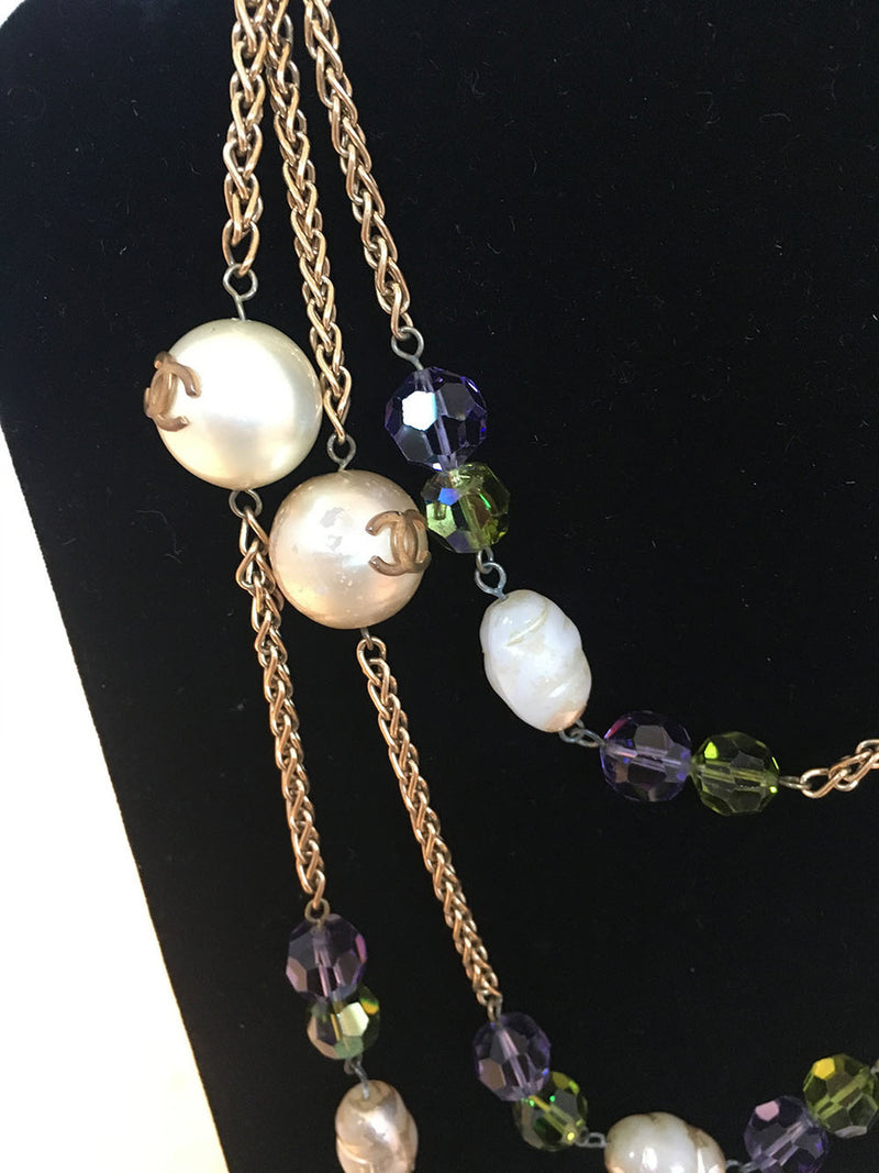 Chanel Vintage Large Pearls and Green and Purple Crystal Bead Gold Necklace