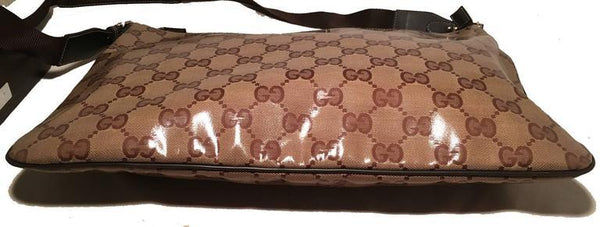Gucci XL Coated Monogram Canvas Slim Messenger Shoulder Bag