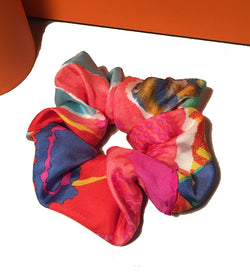 Christian Lacroix Handmade Vintage Baby Silk Scarf Scrunchie in Pink Multicolor Watercolor Print