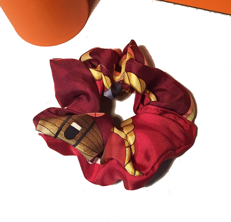 Vintage Hermes Handmade Les Folies du Ciel Silk Scarf Scrunchie in Dark Red