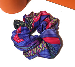 Hermes Vintage Handmade Aux Canards Duck Silk Scrunchie in Blue