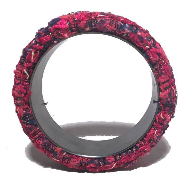 Chanel Red Tweed and Steel Bangle Bracelet