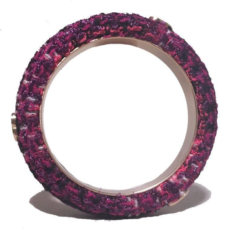 Chanel Purple Tweed and Steel Bangle Bracelet