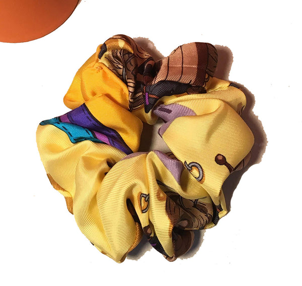 Hermes Vintage Handmade Ecuries Silk Scarf Scrunchie in Yellow