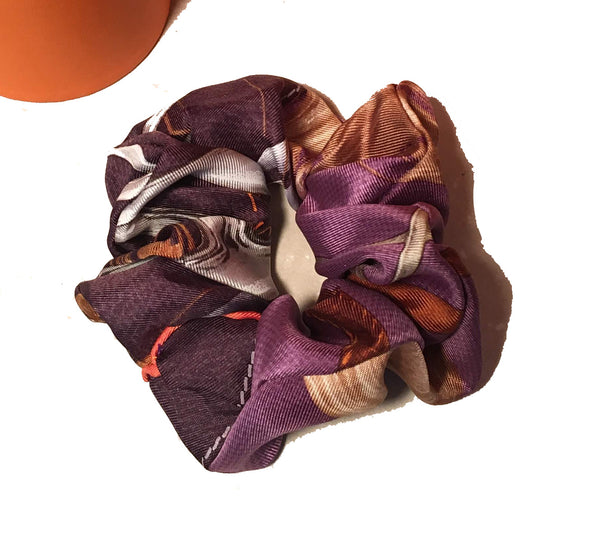 Vintage Hermes Handmade Projets Carres Silk Scarf Scrunchie in Purple