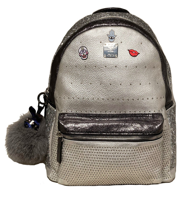 MCM Special Edition Silver Leather Swarovski Crystal Backpack with Rabbit Charm
