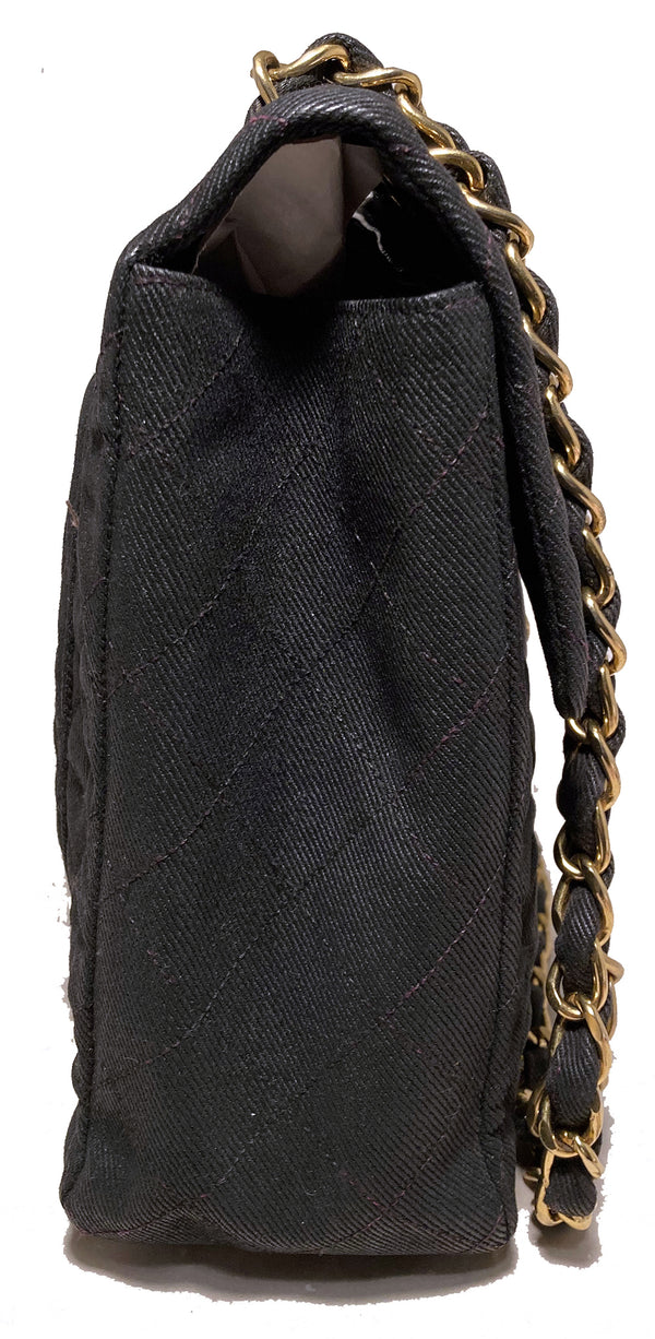 Vintage Chanel Black Denim Maxi Classic Flap Shoulder Bag