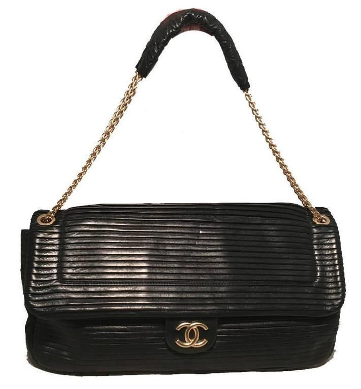 Chanel Black Pleated Leather Classic Flap Shoulder Bag
