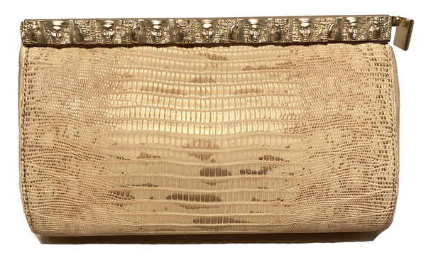 Barry Kieselstein Cord Beige Gold Lizard Egyptian Goddess Clutch