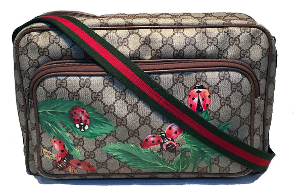 Gucci Vintage Monogram Hand Painted Ladybug Reporter Messenger Shoulder Bag