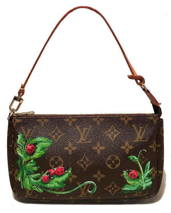 Louis Vuitton Vintage Monogram Hand Painted Ladybug Pochette Accessories Pouch