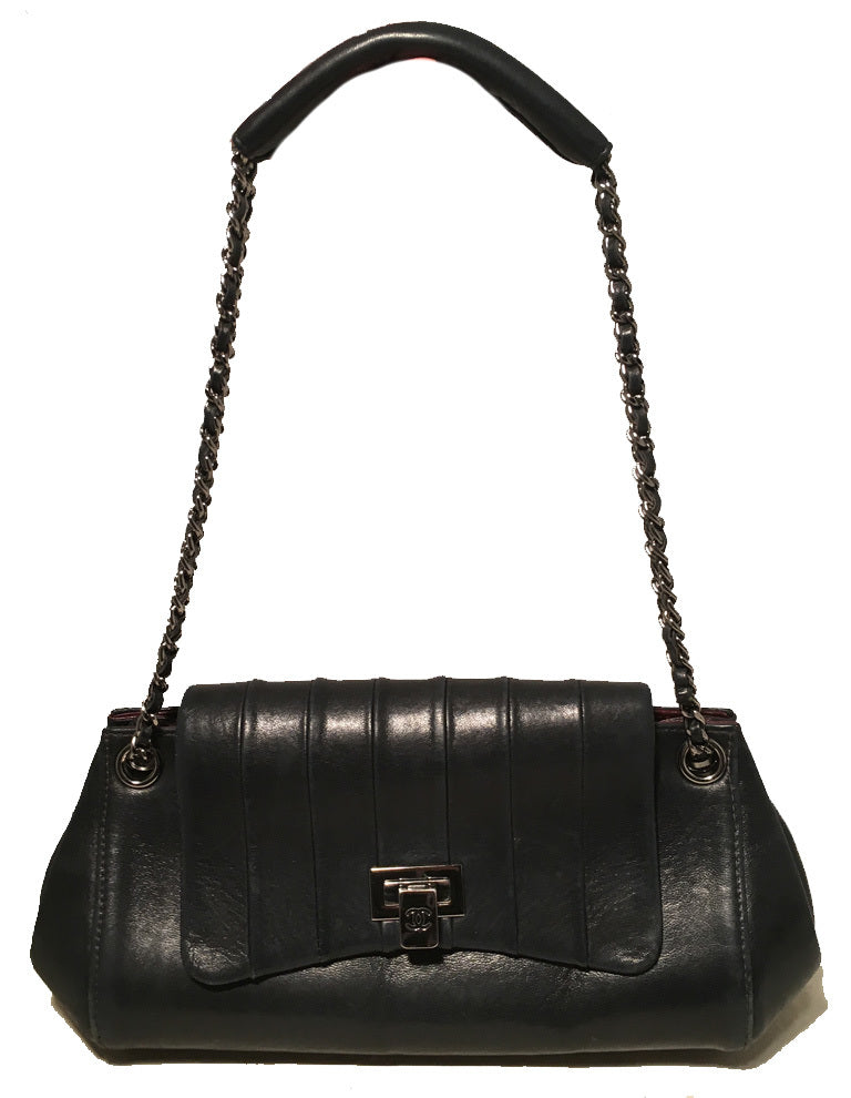 Chanel Black Leather Pleated Top Flap Classic Shoulder Bag
