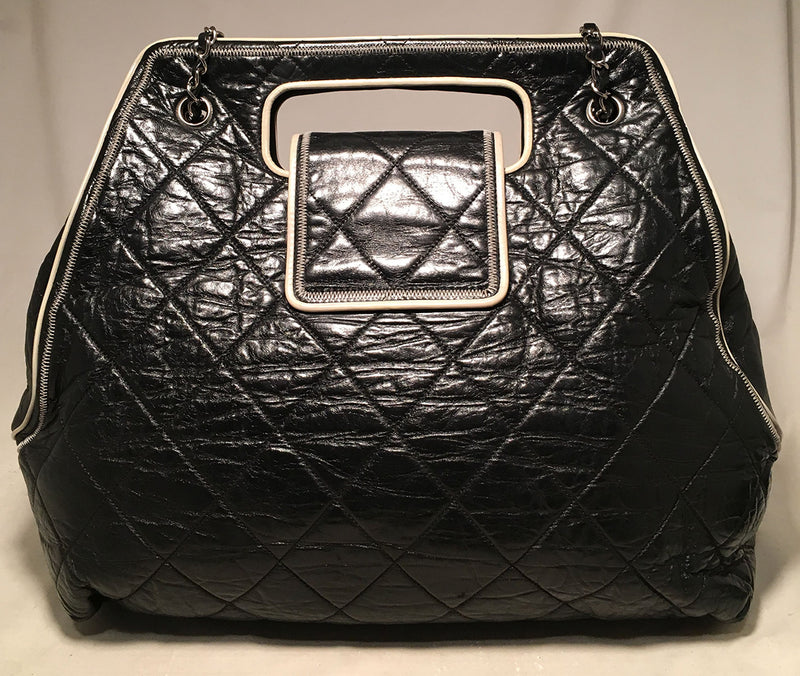 Chanel Black Leather East West Mademoiselle Cut Out Handle Tote