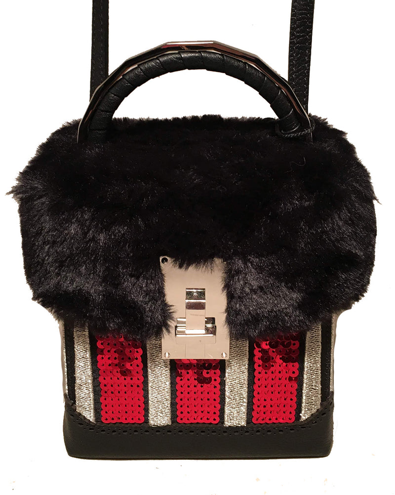 NWT The Volon Red Sequin & Black Fur Great Box Bag