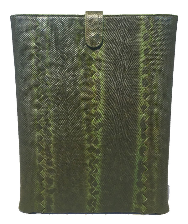 NWOT Bottega Veneta Green Lizard IPad Case with Box