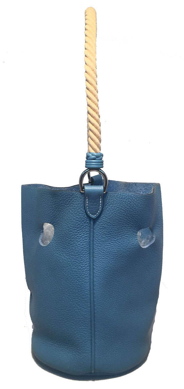 Hermes Mangeoire Blue Jean Taurillon Clemence Leather Rope Handle Bucket Bag