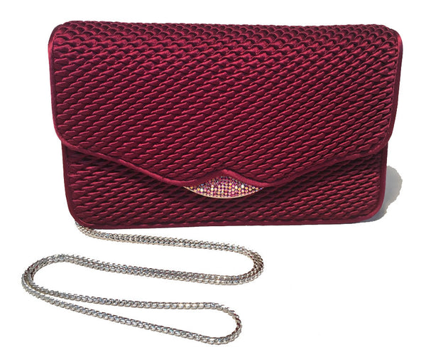 Judith Leiber Dark Red Satin Silk and Swarovski Crystal Evening Bag Clutch
