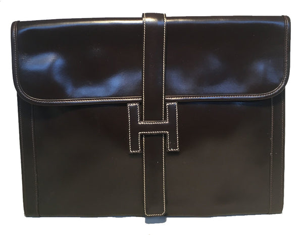 Hermes Vintage Brown Box Calf Leather Jige Clutch