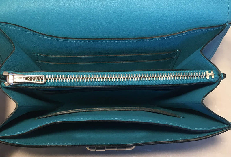 NWOT Hermes Teal Swift Leather Convoyeur Mini Messenger Crossbody Shoulder Bag