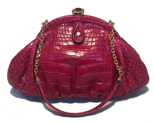 Judith Leiber Small Red Alligator Handbag