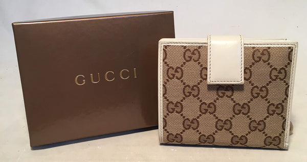 Gucci GG Monogram and Beige Leather Wallet with Zip Pocket and Box