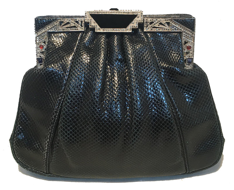 Judith Leiber Vintage Black Lizard Art Deco Embellished Top Clutch