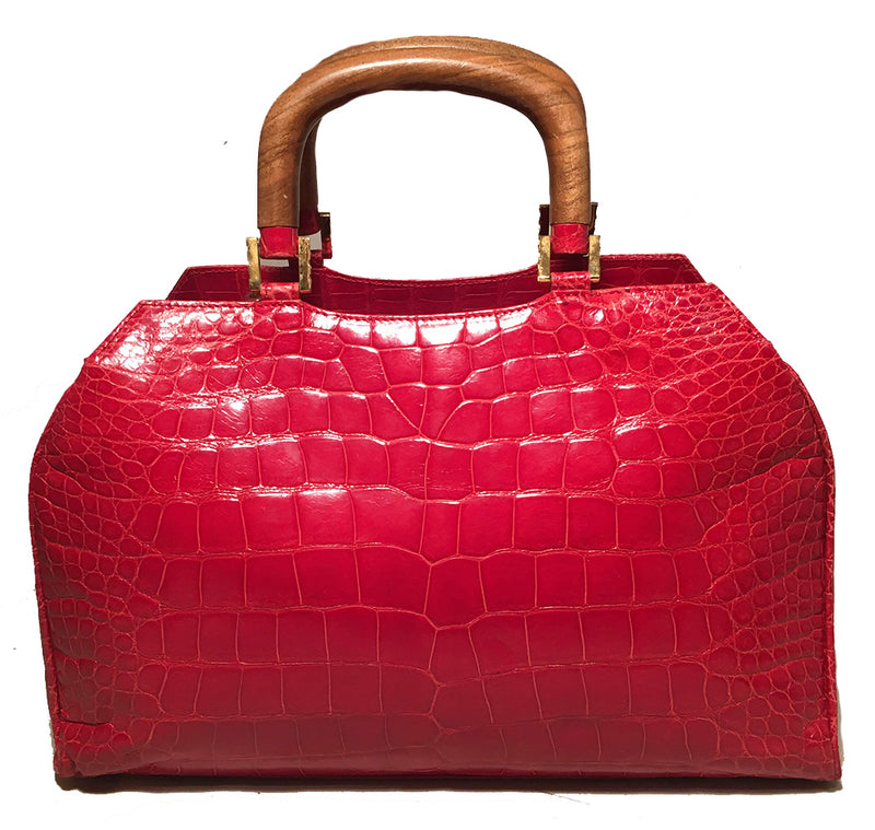 Lana Marks Red Crocodile Wood Handle Handbag