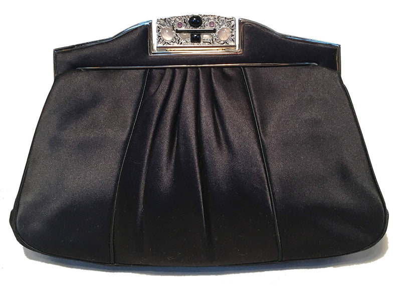 Judith Leiber Vintage Black Pleated Silk Clutch
