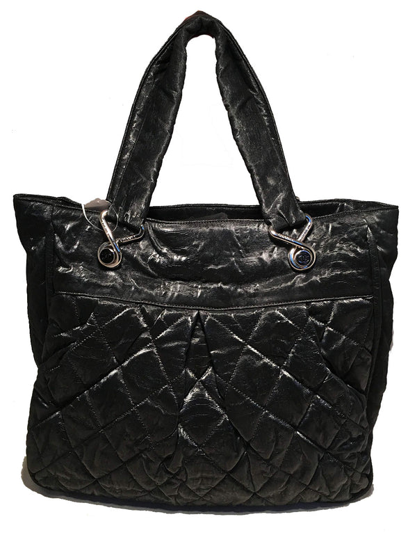 Chanel Black Shimmery Soft Quilted Leather Tote Bag