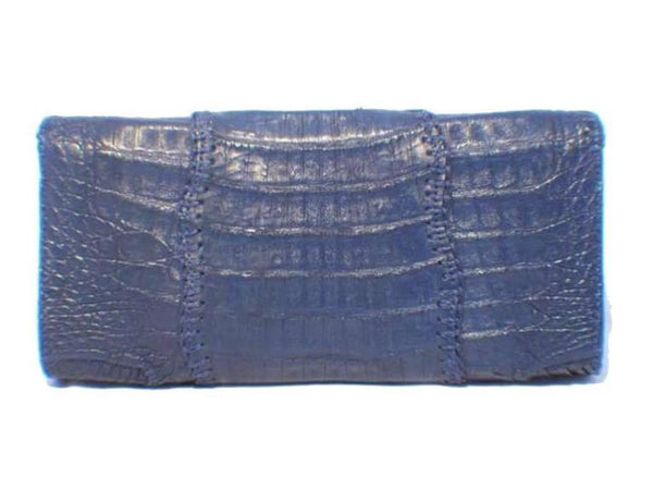Carlos Falchi Blue Crocodile Patchwork Clutch