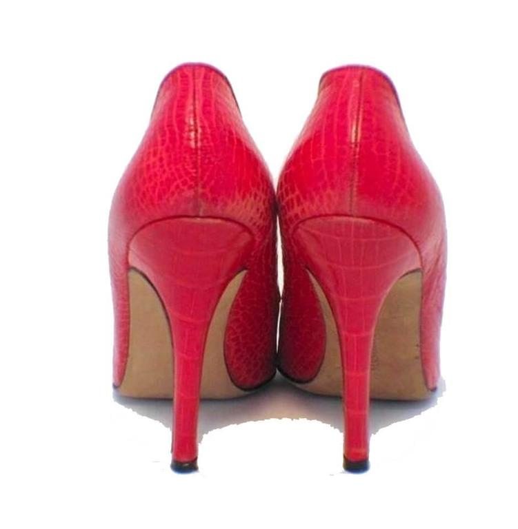 Manolo Blahnik Fire Engine Red Alligator Pumps