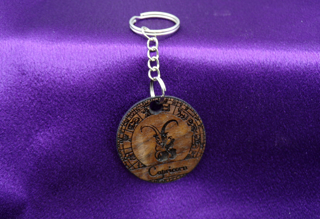 Capricorn Key chain - Walnut