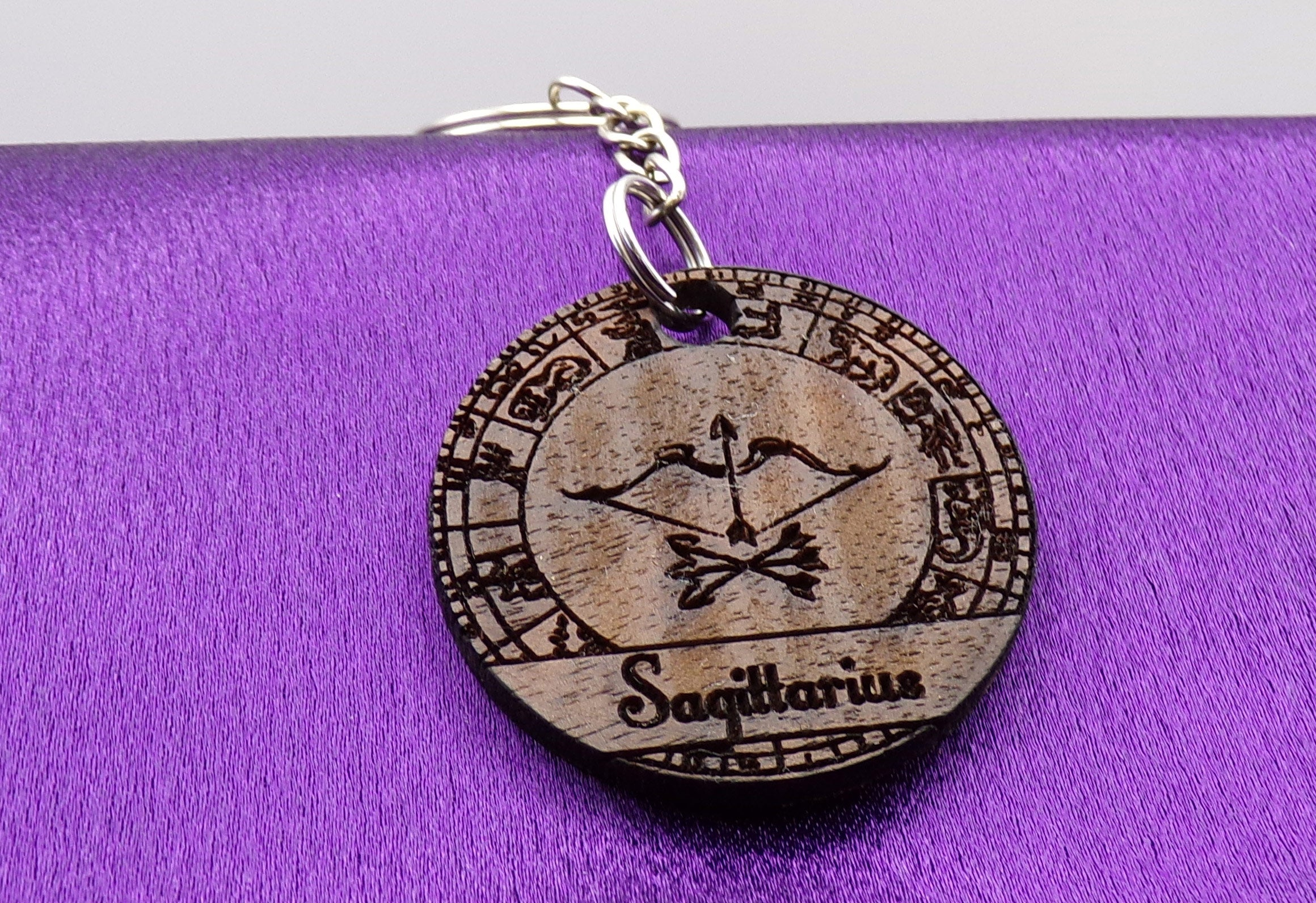 Sagittarius Key chain - Walnut