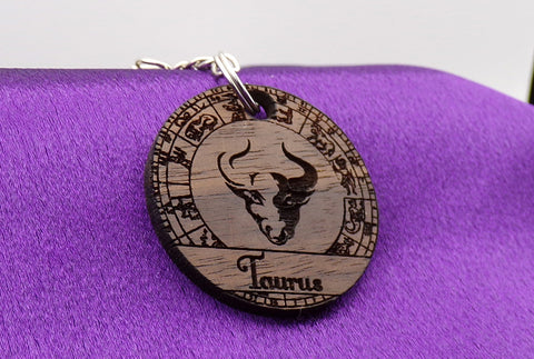 Taurus Key chain - Walnut