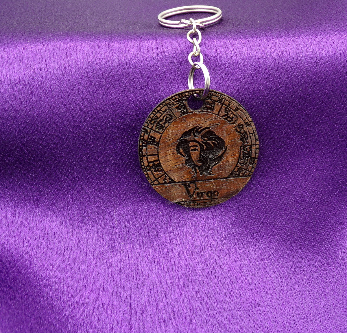 Virgo Key chain - Walnut