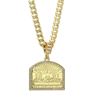 """14k Gold Plated Stainless Steel Mini God Cross Pendant 30/"""" Cuban Necklace Chain"""