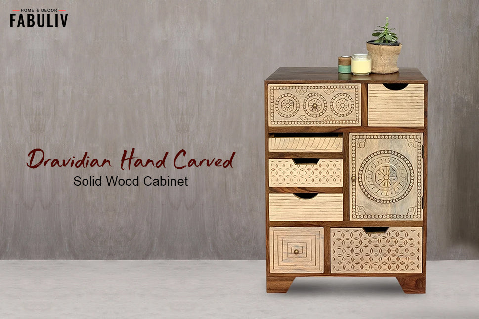 dravidian art - wooden handcrafted chest of drawers