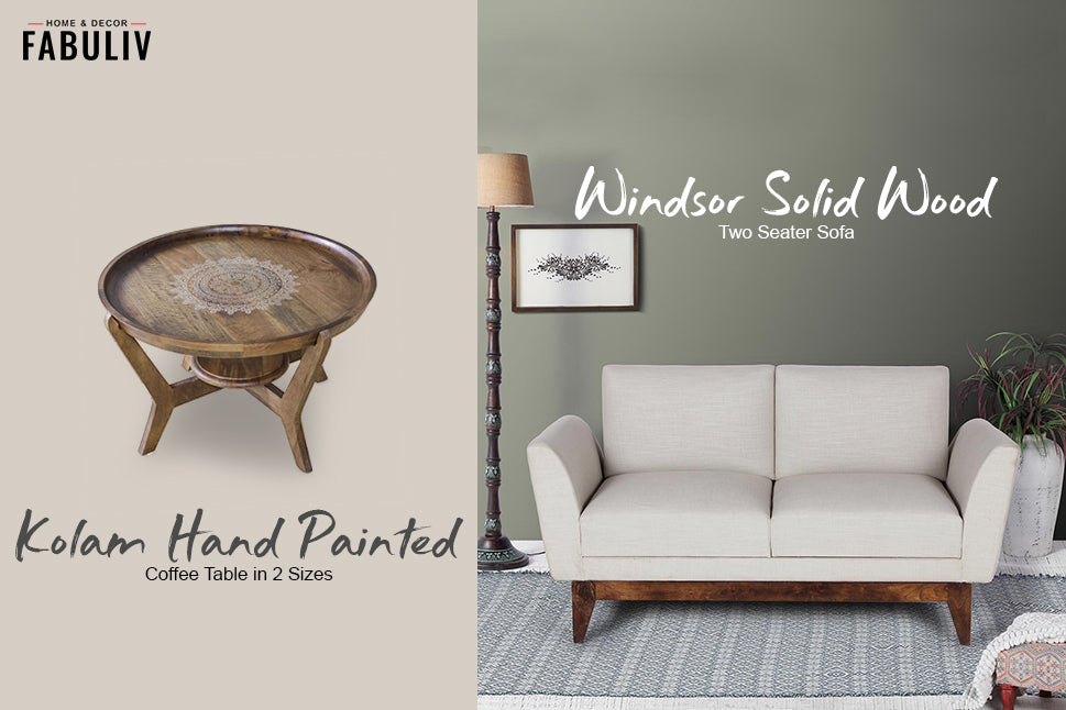 Windsor Solid Wood Two Seater Sofa and Kolam Hand Painted Coffee Table