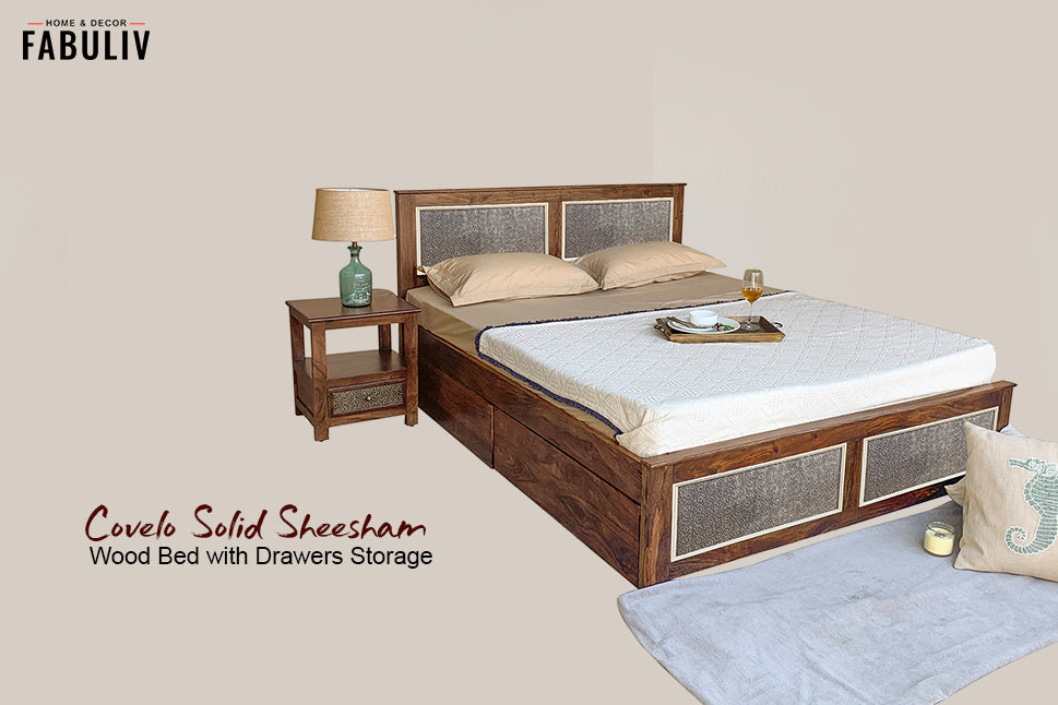 wooden storage bed pullout storage